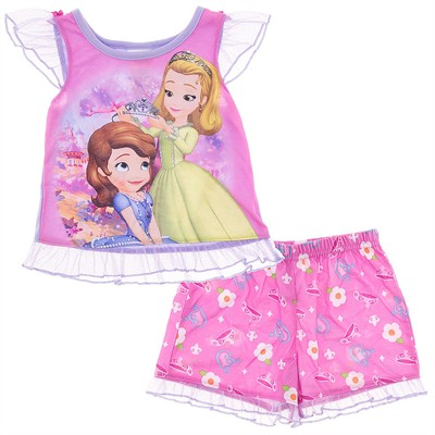 Sofia the First Pink Short Pajamas for Toddler Girls
