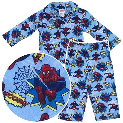 Spider-man Light Blue Coat-Style Pajamas for Toddler Boys