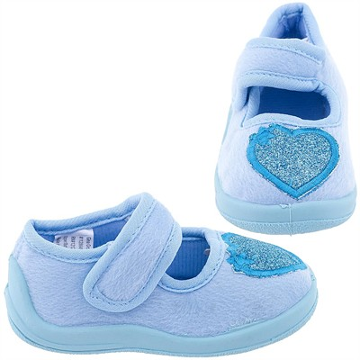 Blue Toddler Slippers with Glitter Hearts for Girls