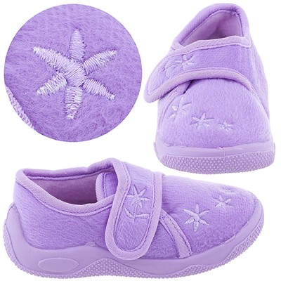 Lilac Floral Toddler Slippers for Girls