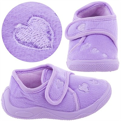 Lilac Heart Toddler Slippers for Girls