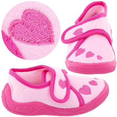 Pink Heart Toddler Slippers for Girls