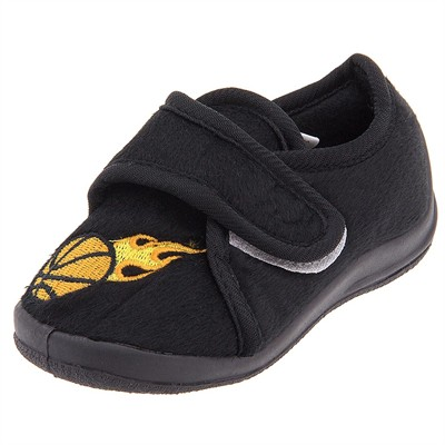 Black Basketball Velcro Slippers for Toddler Boys