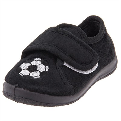 Black Soccer Velcro Slippers for Toddler Boys