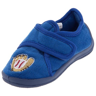 Blue Baseball Velcro Slippers for Toddler Boys