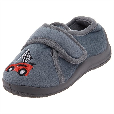 Gray Race Car Velcro Slippers for Toddler Boys