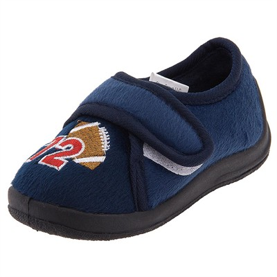 Navy Football Velcro Slippers for Toddler Boys