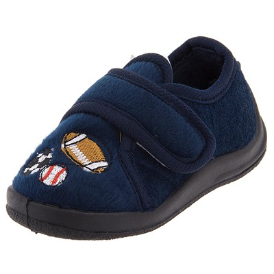 Navy Sports Velcro Slippers for Toddler Boys