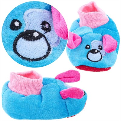 Aqua Blue Puppy Sock Top Slippers for Toddlers and Girls