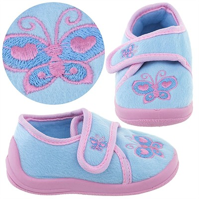 Light Blue Butterfly Velcro Slippers for Toddler Girls