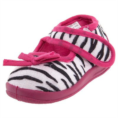 Fuchsia Zebra Velcro Slippers for Toddler Girls