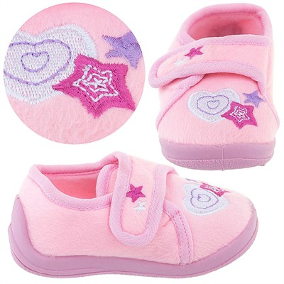 Peach Heart Velcro Slippers for Toddler Girls