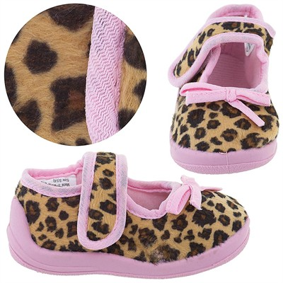 Pink Cheetah Velcro Slippers for Toddler Girls