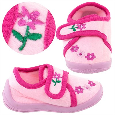 Light Pink Floral Velcro Slippers for Toddler Girls