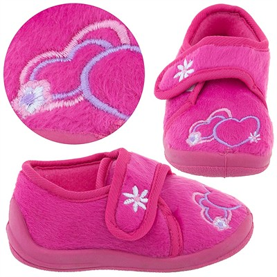 Pink Heart Velcro Slippers for Toddler Girls