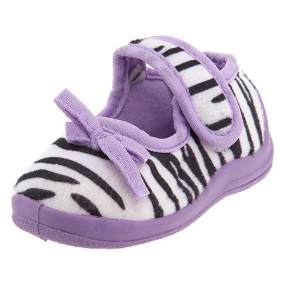 Lavender Zebra Velcro Slippers for Toddler Girls
