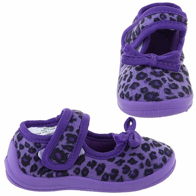 Purple Cheetah Velcro Slippers for Toddler Girls