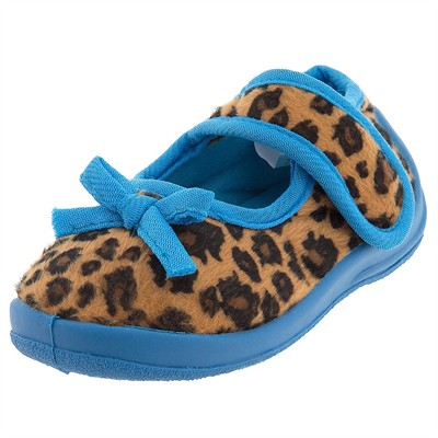 Teal Cheetah Velcro Slippers for Toddler Girls