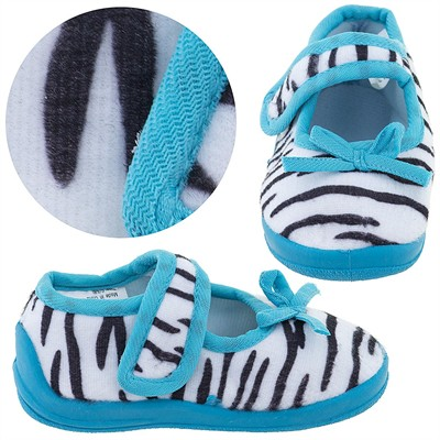 Teal Zebra Velcro Slippers for Toddler Girls