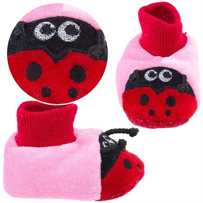 Pink Ladybug Sock Top Slippers for Toddler Girls