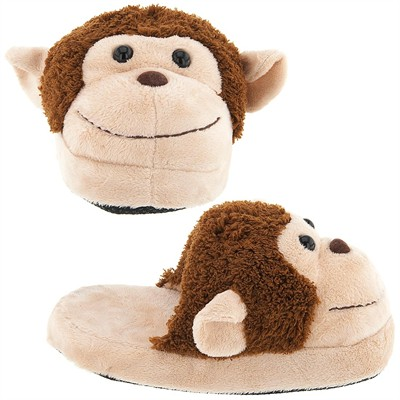 Tan Monkey Slippers for Toddlers