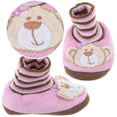 Pink Bear Slippers for Toddlers