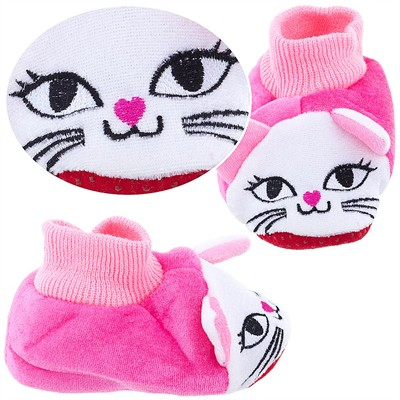 Pink Kitty Sock Top Slippers for Toddler Girls