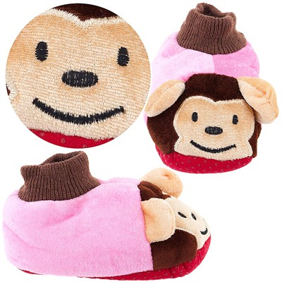 Pink Monkey Sock Top Slippers for Toddlers and Girls