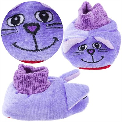 Purple Cat Sock Top Slippers for Toddler Girls