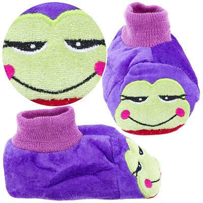 Purple Frog Sock Top Slippers for Toddlers and Girls