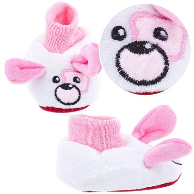 White Puppy Sock Top Slippers for Toddler Girls