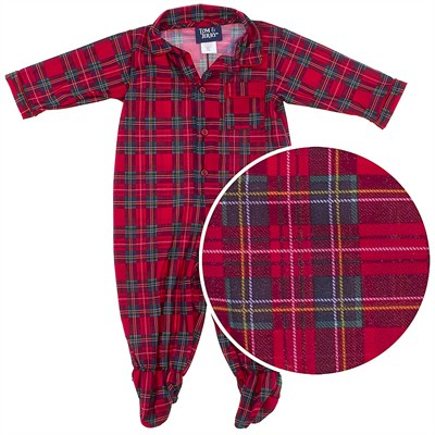 Tom and Jerry Red Plaid Footed Sleeper for Baby Boys