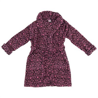 Pink Leopard Plush Bathrobe for Women