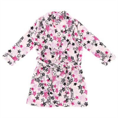 Pink Star Plush Bathrobe for Women