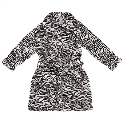 Zebra Plush Bathrobe for Women