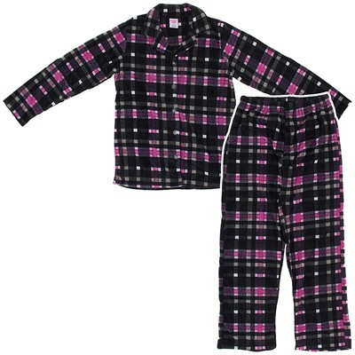Black Plaid Fleece Pajamas for Women