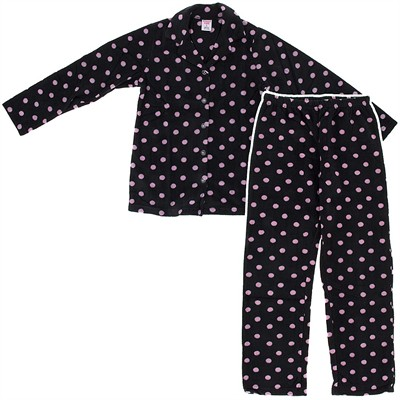 Black Polka Dot Fleece Pajamas for Women