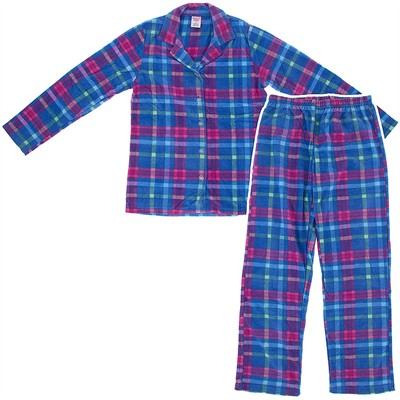Blue Plaid Fleece Pajamas for Women