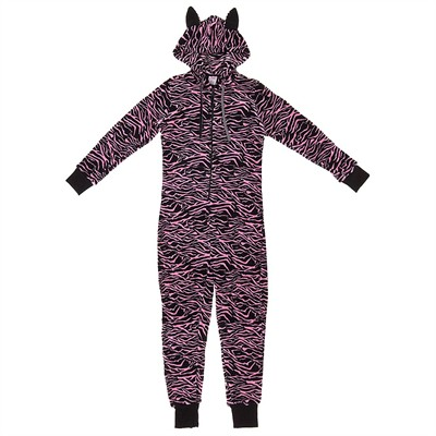 Pink Zebra Plush Hooded Onesie Pajamas for Women