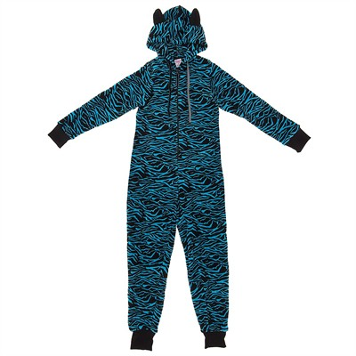 Teal Zebra Plush Hooded Onesie Pajamas for Women