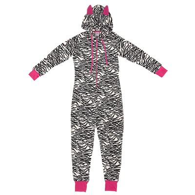 Zebra Plush Hooded Onesie Pajamas for Women