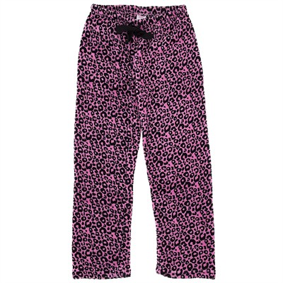 Pink Leopard Plush Pajama Pants for Women