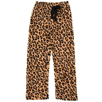 Leopard Plush Pajama Pants for Women