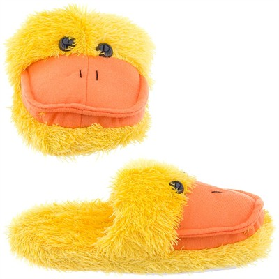 Fuzzy Yellow Duck Animal Slippers for Women