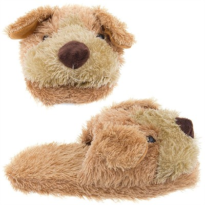 Brown Fuzzy Dog Slippers for Women