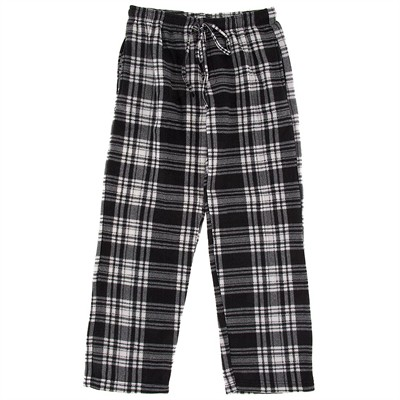 Black and White Fleece Pajama Pants for Men