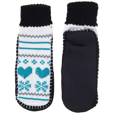 Blue Heart Knit Slipper Socks for Women