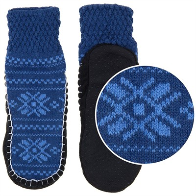 Blue Knit Slipper Socks for Women