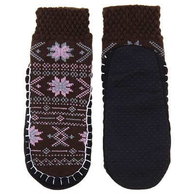 Brown and Pink Snowflake Knit Slipper Socks for Women
