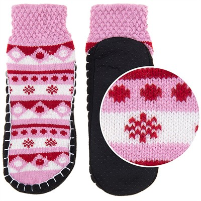 Pink and Red Knit Slipper Socks for Women